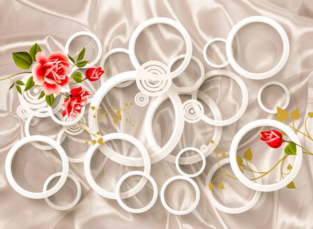 3d wallpaper design with roses and circles for mural
