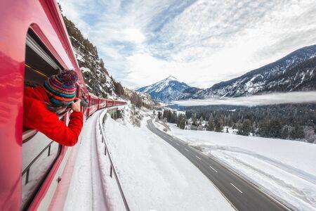 Red Express in Winter Pontresina / Switzerland