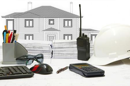 worktable: Basic instruments of a civil engineer on worktable