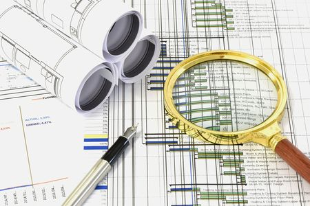 construction management: Close view of civil engineer Stock Photo