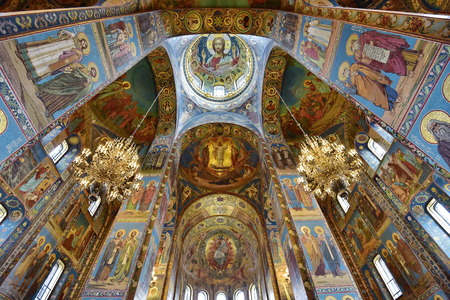Interior View Of Church On Spilled Blood St. Petersburg, Russia 에디토리얼