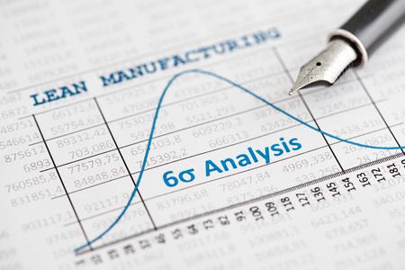 Efficiëntie van lean manufacturing beleid wordt aangegeven door een six sigma curve Stockfoto - 39078050