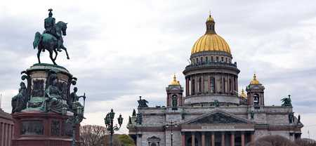 Saint Isaacs Cathedral and the Monument to Emperor Nicholas I St. Petersburg Russia photo
