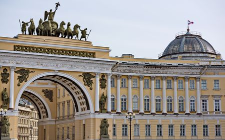 Triumphal Arches of the General Staff Palace Square in St. Petersburg Russia