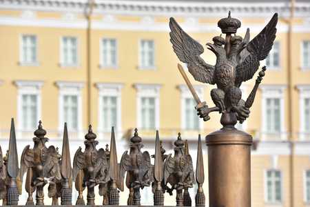 double headed eagle: Details of fence decoration with Russian Imperial Symbol of Double Headed Eagle at the Palace Square in St. Petersburg Russia