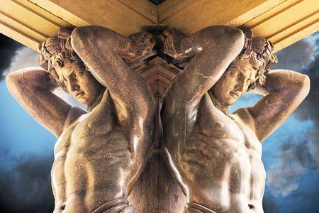 atlantes: Portico With Atlantes, New Hermitage, St. Petersburg Russia Editorial