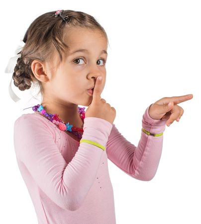 quite: Little Girl Is Calling For Silence. Stock Photo