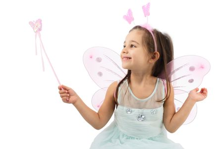 Little Butterfly Fairy Is practising Magic, Isolated On White Background Stock Photo