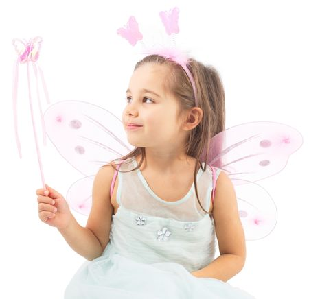 Little Butterfly Fairy Is Practicing Magic, Isolated On White Background Stock Photo