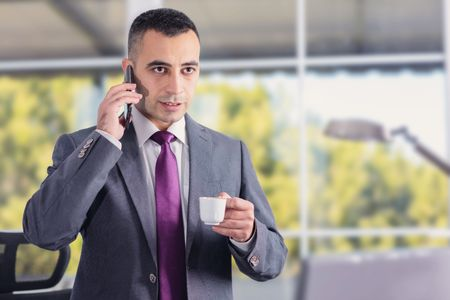 coffe break: Young And Confident Businessman Having Coffe Break And Talking On The Phone In His Office Stock Photo