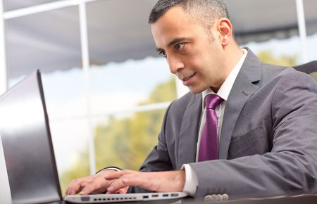ambitious: Portrait Of Ambitious Young Businessman Who Is Writing On Laptop