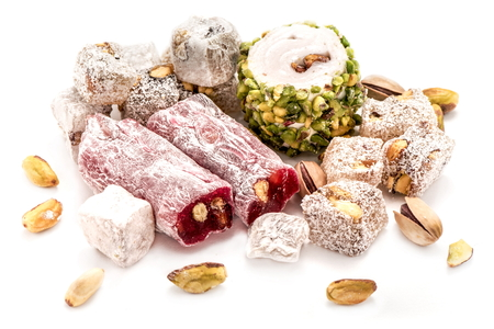 close up food: Turkish Delights With Pistachio Isolated On White Background
