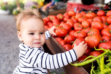 Little Baby Girl Choosing Tomatoes In Market Place