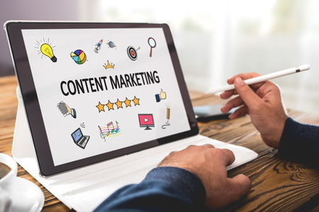Content Marketing Concept On Digital Tablet Screen Stock Photo
