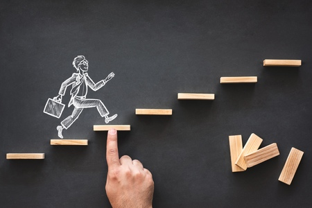 Career Planning and Business Challenge Concept with Hand Drawn Chalk Illustrations on Blackboard Stock Photo