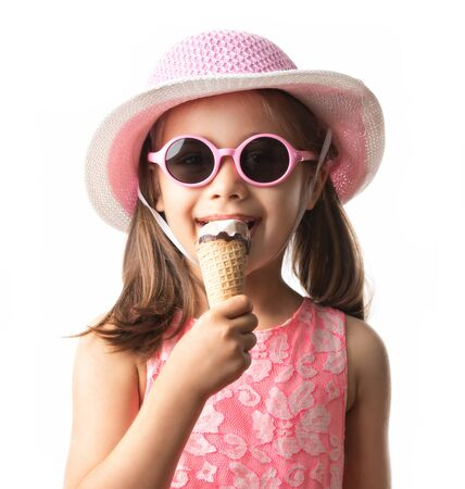 Happy Child Girl Eating Ice Cream Concept Isolated On White Background