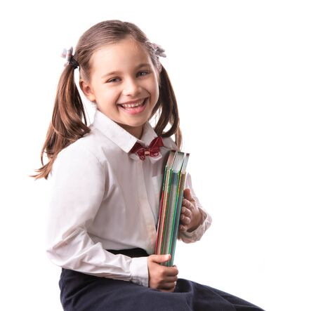 Back To School Concept, Portrait of Happy Smiling Child Student Isolated on White Background
