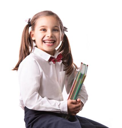 Back To School Concept, Portrait of Happy Smiling Child Student Isolated on White Background Stock Photo - 127242273