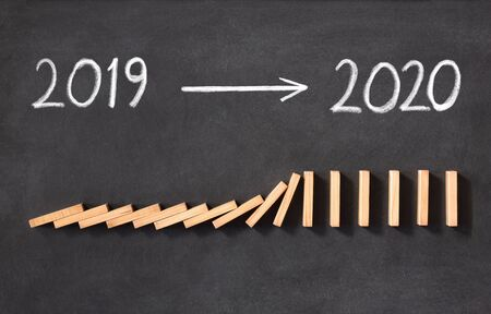 New Year Business Concept. 2020 Approaching, on Blackboard