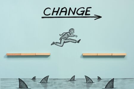 Challenge to Change. Business Concept with Hand Drawn Figures.