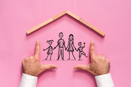 Concept For Family Insurance with Businessman on Color Background Stok Fotoğraf - 131991859