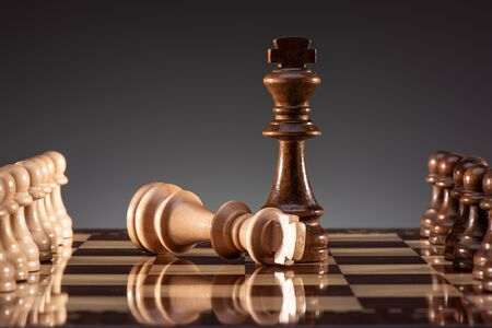 Business Concept for Leadership, Challenge and Diversity with Chess Pieces Stok Fotoğraf - 131306374