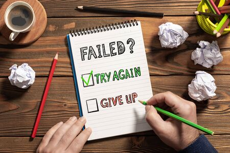 Concept For Try Again or Give Up Option After Failure Stok Fotoğraf
