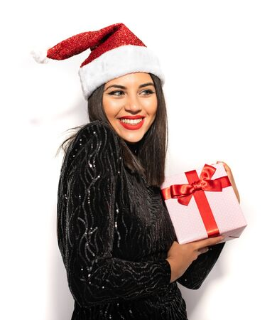 Beautiful Brunette Woman with Christmas Celebration Hat, Shopping for Gift Concept