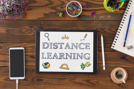Distance Learning Concept With Stationery Supplies And Computer On Desk Stock Photo - 150090093