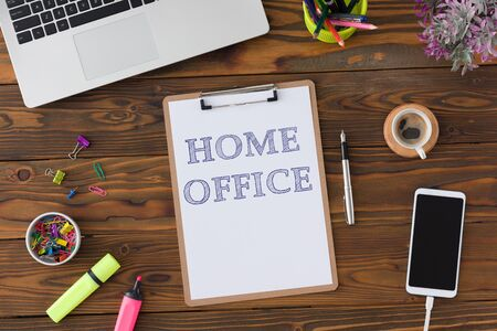 Home Office Concept With Stationery Supplies And Computer Stock Photo - 150090095