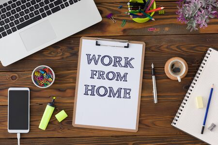 Work From Home Concept With Stationery Supplies And Computer