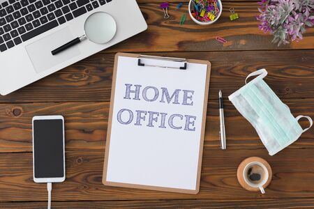 Home Office Concept With Stationery Supplies And Computer Stock Photo - 150233037