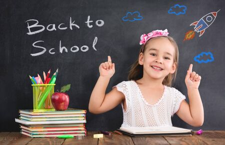 Back To School Concept, Happy Smiling Child Student Studying Stock Photo - 150233086
