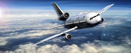 vliegtuig op de blauwe hemel