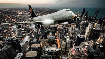 vliegtuig vliegen over de stad