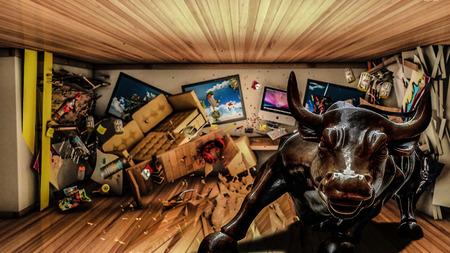 disorganized: Bull messed the room Stock Photo