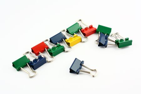 disorganize: binder clips Stock Photo