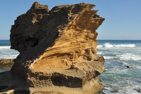 coastal erosion: Erosion on sandstone rock in Victoria, Australia Stock Photo