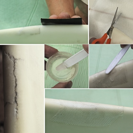 fiberglass: Process of preparation and repair of rail ding on epoxy surfboard in one set, showing the crack, sanding with paper, cutting and adjusting fiberglass, mixing and applying resin on cloth