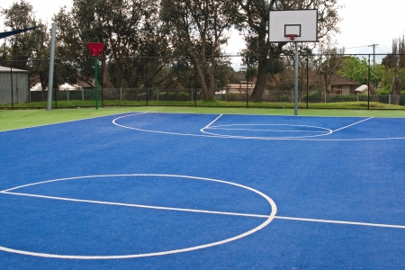 center court: Centre of basketball in bright green and blue, synthetic grass carpet surface with white lines and training basket