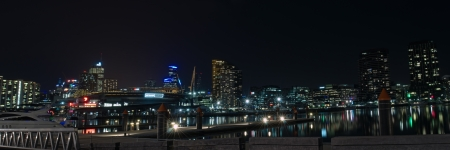 Night panorama at Victoria Harbor in Docklands with lights reflections in water, marina piers, posts and boats and CBD lights in background in Victoria, Australian
