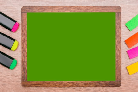 Mock up, on wooden markers background, and background for inserts with wooden frame
