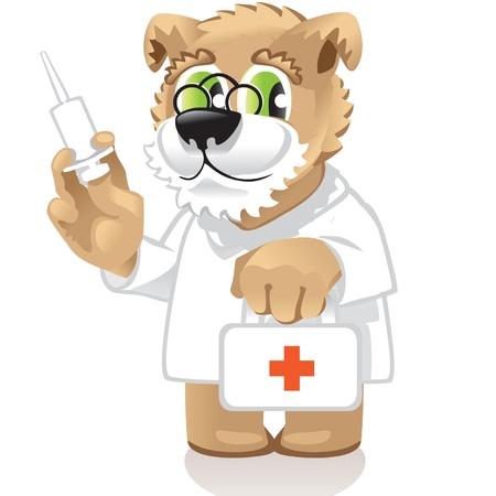 injectie: hond arts Stock Illustratie