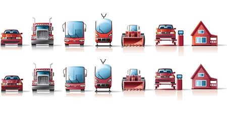 car lift: icons of car leasing and red burgundy Illustration