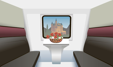 compartment: train compartment with a table and flowers
