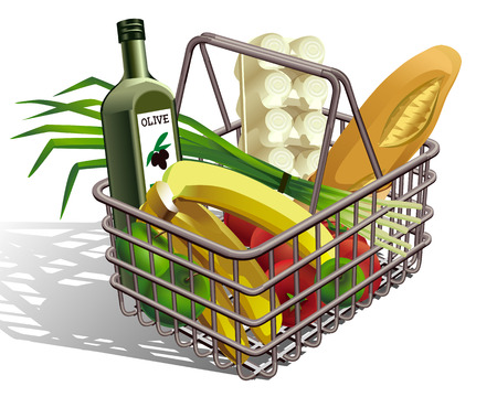 supermarket basket with different products , vegetables, fruits , chicken eggs , bread Vector
