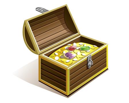 cofre del tesoro: pecho pirata con monedas de oro, diamantes, diamantes