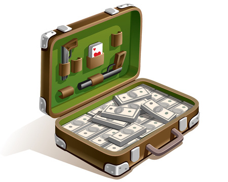 lucky break: case with a lot of money , weapons, and playing cards Illustration