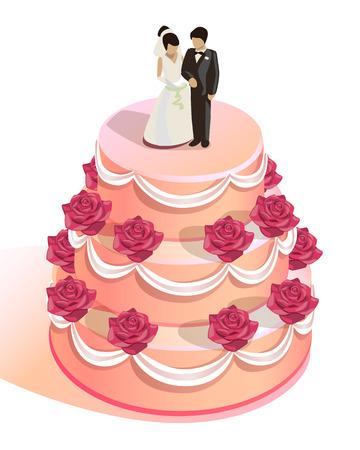 boda pastel: pastel de bodas redondo con rosas rojas y la novia y el novio figurines