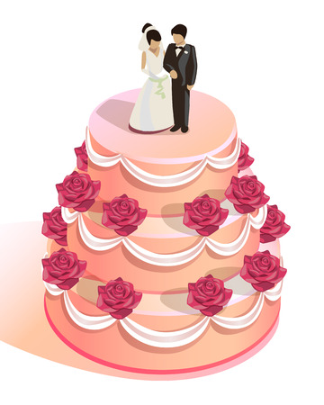 wedding cake: round wedding cake with red roses and the bride and groom figurines